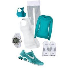 Cute Teal & White Workout outfit by J. Looking good even when you are working out. Work out in style. Cute Workout Outfits, Workout Attire, Sporty Outfits, Athletic Outfits, Athletic Wear, Workout Wear, Cute Outfits, Workout Tanks, Womens Workout Outfits