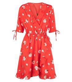 Influence - Robe portefeuille rouge à fleurs et volants | New Look