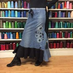 Mermaid Stretch Denim Long Skirt, Blue and Black Patchwork, ... Maxi Several pairs of previously loved jeans have been saved from a landfill and recycled into a one of a kind design. Long patchwork skirt is a combination of stretch denim, black ..