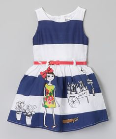 Look what I found on #zulily! Poco & Picotine Blue & White Stripe Belt Dress - Infant, Toddler & Girls by Poco & Picotine #zulilyfinds