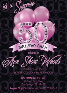 50th Birthday Invitation  Adult 50th Birthday by FabPartyPrints, $15.00
