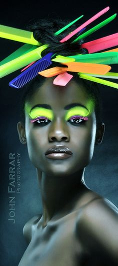 Ground-Breaking Concept of Fashion Photography By John Farrar (neon combs). Foto Fashion, Funky Fashion, Beauty Photography, Fashion Photography, Fantasy Makeup, Model Photographers, Hair Art, Black Is Beautiful, Belle Photo