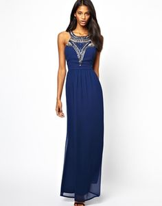 Lipsy Maxi Dress with Beaded Neck| I've found this beautiful gorgeous dress, but asos don't sell it in my size. Such a shame.