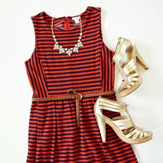 """J. Crew Sleeveless Stripe Ponte Dress Soft with a hint of stretch ponte that's super comfortable and flattering-for-all-fit-and-flare silhouette. Even the stripes (red and navy) are engineered to make you look good 😘 side pockets, back zip and clasp closure. Measures 15.5"""" armpit to armpit, 23"""" armpit to bottom. Factory size small. Pristine condition!  🚫 NO TRADE/HOLD/PP J. Crew Dresses"""