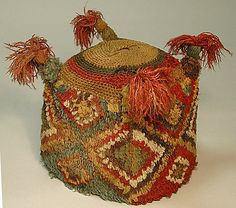 Four-Cornered Hat Date: 8th–10th century Geography: Peru Culture: Wari Medium: Camelid hair Dimensions: H x W: 5 1/2 x 5 3/4in. (14 x 14.6cm)