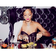 Rihanna Shares New Year's Eve 2014 Dinner Party Photos!: Photo Rihanna  helps her model friend Cara Delevingne with her hair while getting ready  for their ...