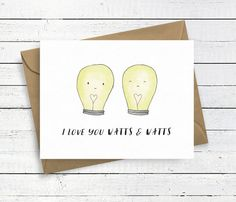I Love You Watts & Watts card featuring lamps/lightbulbs. This card design was originally hand drawn and painted with watercolour by me (Nicole) and then scanned and edited to be ready for print. Each card is individually packaged with a recycled brown envelope in a cellophane packet. My logo and details are on the back of each card. Details: – A6 Greeting Card – Blank inside – Printed on FSC managed 300gsm white card – Printed in the UK – Includes brown envelope – Comes in a cellophane p...
