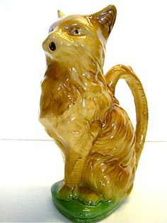 French Majolica Absinthe Cat Pitcher. Circa Late 19th Century.