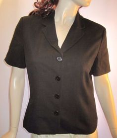 Talbots-Size-M-Black-Rayon-Blend-Short-Sleeve-Button-Front-Blazer