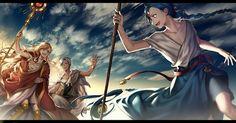 Magi. Older Aladdin, Titus, and Sphintus