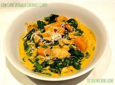 low carb spinach coconut curry. Really quick and easy to make. Full of amazing colours and flavours. | ditchthecarbs.com