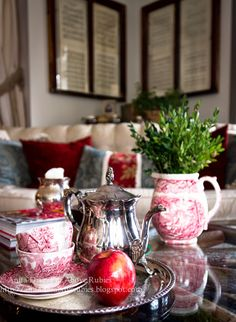 Far Above Rubies: Cozying up with my Yahyali   {Love that red transferware!}