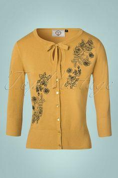 1950s Delilah Cardigan Sweater in Mustard Yellow at vintagedancer.com