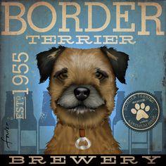 Border+Terrier+Brewing+Dog+beer+Company+original+by+geministudio,+$79.00