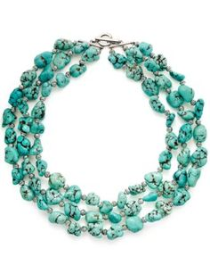 Lauren Ralph Lauren Necklace, 3-Row Semi-Precious Turquoise Toggle Necklace - Fashion Jewelry - Jewelry & Watches - Macy's