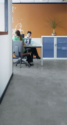 Secura Polished Concrete vinyl flooring for a small office