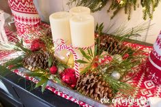 DIY Lighted Pinecone & Candle Tray