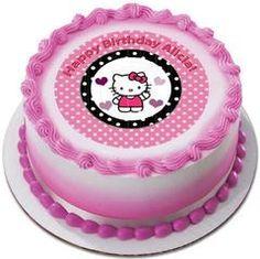 Hello Kitty and Bear Edible Birthday Cake Topper OR Cupcake Topper, Decor - Edible Prints On Cake (Edible Cake &Cupcake Topper)