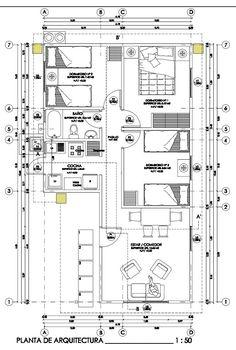 Plano de casa social con 3 habitaciones y 54m2 Beautiful House Plans, Beautiful Homes, House Construction Plan, Floor Layout, Autocad, Projects To Try, Floor Plans, 1, House Design