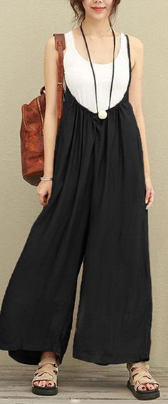 Vintage Strap Pure Color Baggy Jumpsuits #Jumpsuits #pants