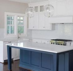 Blue Kitchen Island Legs - Design photos, ideas and inspiration. Amazing gallery of interior design and decorating ideas of Blue Kitchen Island Legs in kitchens by elite interior designers. Kitchen Island With Legs, Kitchen Island Furniture, Kitchen Island Makeover, New Kitchen Cabinets, Kitchen Cabinet Design, Kitchen Interior, Kitchen Islands, Kitchen Decor Themes, Kitchen Colors