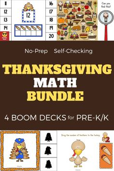 Bundle of 4 interactive games. Use these task cards as a fun center to improve math skills in preschool and kindergarten. This digital resource is compatible with google classroom and seesaw and perfect for distance or homeschooling. #digital #boom #task cards #math #count #number #pre-k #preschool #kindergarten #thanksgiving #turkey #animal #pilgrim #november Interactive Learning, Learning Games, Educational Activities, Activities For Kids, Kindergarten Thanksgiving, Thanksgiving Math, Preschool Kindergarten, Circle Time Games, Kool Kids
