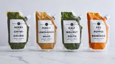 Functional Yet Futuristic Packaging Makes Haven's Kitchen Sauces Look Like Gourmet Space Food — The Dieline Salad Packaging, Spices Packaging, Food Packaging Design, Packaging Ideas, Branding Design, Identity Branding, Retail Packaging, Corporate Design, Brochure Design