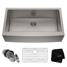 KRAUS All-in-One Farmhouse Apron Front Stainless Steel 30 in. Single Bowl Kitchen Sink with Faucet in Stainless - The Home Depot Apron Sink Kitchen, Single Bowl Kitchen Sink, Farmhouse Sink Kitchen, Kitchen Sink Faucets, New Kitchen, Kitchen Ideas, Kitchen Reno, Kitchen Cabinets, Kitchen Designs