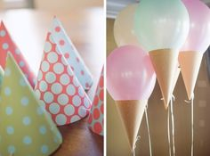 Planning a party with an ice cream theme? Ice Cream Balloons are the perfect decoration that will top your party off. All you need is party hats or make your own with scrap book paper.