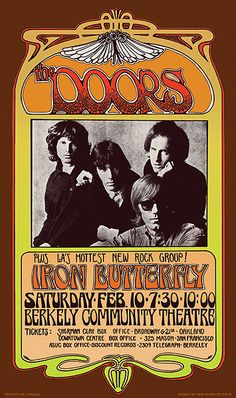 Doors Concert Promo Poster, The Doors Plus LA's Hottest New Rock Group! 10 Berkely Community Theatre Bob Masse Art Inches x 23 Inches), Doors Berkeley Concert Promo Poster, Doors Posters/Wall Art, Doors Merchandise Vintage Concert Posters, Vintage Posters, Art Nouveau, Concert Rock, Hippie Posters, The Doors Jim Morrison, Rock Band Posters, Pochette Album, Poster S