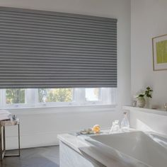 Sonnette Cellular Roller Shades from Hunter Douglas. The clean look of a roller shade with the energy efficiency of a cellular shade. Window Treatment Store, Bathroom Window Treatments, Bathroom Windows, Window Coverings, Bathroom Blinds, Bathrooms, Hunter Douglas, House Blinds, Blinds For Windows