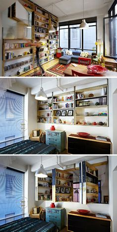 Rotating Bookcases Can Turn to Face Either of Two Rooms