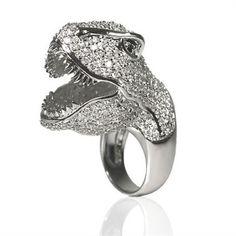 Dinosaurrrr T REX bling cz crystal ring