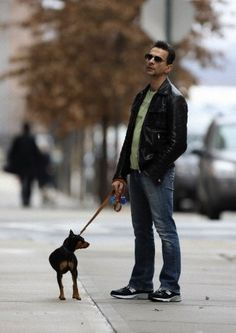 Dave walking our dog;)