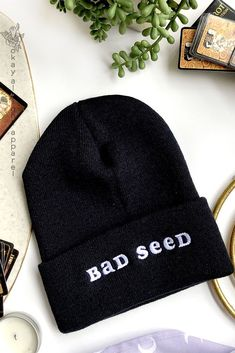 02d71f3a2 Bad Seed, Funny Embroidered Alternative Style Winter Beanie  #alternativefashionwinter #punkfashion #gothaesthetic Alternative