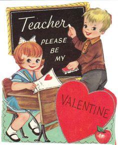 Vintage Valentine Card Children Old Fashioned School Desk