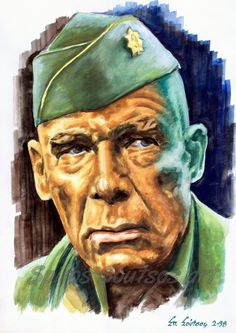 """Lee Marvin """"The Dirty Dozen:The Next Mission"""" 1985 movie poster, original portrait painting in watercolor by artist Spiros Soutsos. Order art print for sale Celebrity Caricatures, Celebrity Drawings, Celebrity Portraits, Cat Ballou, Egyptian Movies, Lee Marvin, Gravure Illustration, Portrait Art, Portrait Paintings"""