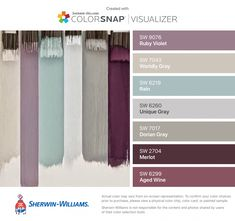 I found these colors with ColorSnap® Visualizer for iPhone by Sherwin-Williams: Ruby Violet (SW Worldly Gray (SW Rain (SW Unique Gray (SW Dorian Gray (SW Merlot (SW Aged Wine (SW More colors I love Room Paint Colors, Paint Colors For Home, Wall Colors, House Colors, Purple Paint Colors, Colours, Office Paint Colors, Bedroom Color Schemes, Bedroom Colors