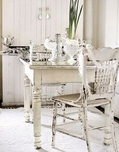 A part of me wants to paint my oak table and chairs to match the rest of my shabby house.
