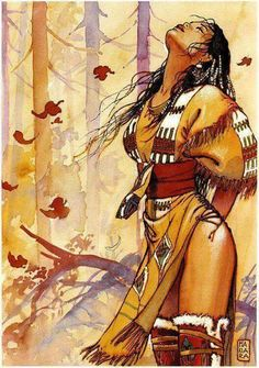 "Offered in Catawiki's Comics Auction (Italian Comics & Original Comic Art): Manara, Milo - artwork ""Indians"" - Limited Edition + CoA. Native American Girls, Native American Artwork, American Indian Art, American Indians, Native American Drawing, Native American Beauty, Serpieri, Drawn Art, Art Graphique"