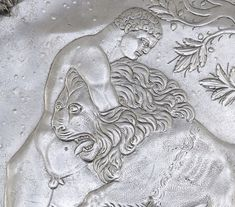 Berthouville Treasure Plate with Hercules Wrestling the Nemean Lion (detail), Roman, A.D. 500-600; silver.  Diam: 39.9 cm; Wt. 3.15 kilograms. Bibliothèque nationale de France, Département des monnaies, médailles et antiques, Paris. VEX.2014.1.96