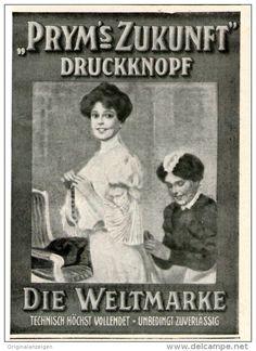Original-Werbung / Inserat / Anzeige 1912 - PRYM´S ZUKUNFT DRUCKKNOPF - ca. 90 x 110 mm