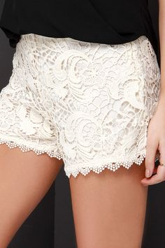 US$52 Black Swan Society Cream Lace Shorts at Lulus.com!