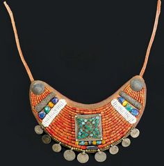 Tibet/Sikkim | Collar; leather, coral, silver, turquoise, pearls and lapis | ca. 3rd quarter of the 20th century
