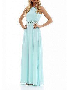 Embellished waist sleeveless maxi dress