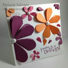 Heart flower birthday card by Melanie Satrapa (Use double sided patterned paper. Flower Birthday Cards, Handmade Birthday Cards, Happy Birthday Cards, Flower Cards, Paper Flowers, Card Making Inspiration, Card Tags, Paper Cards, Creative Cards