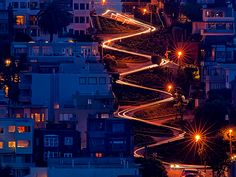 Lombard Street, San Francisco The long exposure created by a slow shutter speed creates lines of light from night time traffic on San Francisco's Lombard Street, often cited as the world's crookedest public thoroughfare. In this one-block section, there are eight hairpin turns. The speed limit is five miles an hour. Travel 365 -- Most Popular Photos of 2012