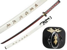 White Samurai Sword with carved saya