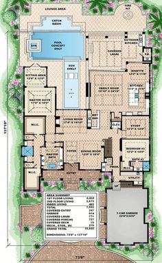 Upscale Florida Home Plan - 66327WE | 1st Floor Master Suite, Butler Walk-in Pantry, CAD Available, Den-Office-Library-Study, Elevator, Florida, In-Law Suite, Loft, Luxury, MBR Sitting Area, PDF, Southern | Architectural Designs