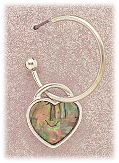 Simply Whispers hypoallergenic and nickel free Jewelry pierced earrings silver posted hoop with abalone heart charm